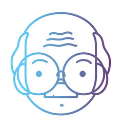 line avatar old man head with hairstyle design vector image
