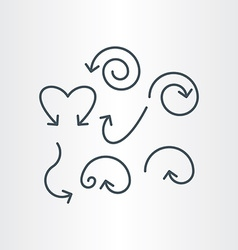 line spiral curve and circle arrows vector image