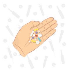 man holding pills in his hand vector image