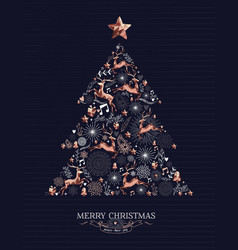 Merry christmas copper deer decoration pine tree vector