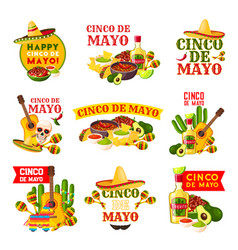 Mexican cinco de mayo fiesta party badge design vector