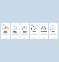 Mobile app onboarding screens business chart vector
