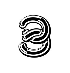 Number 3 celtic font norse medieval ornament abc vector