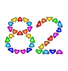 number 82 eighty two of colorful hearts on white vector image