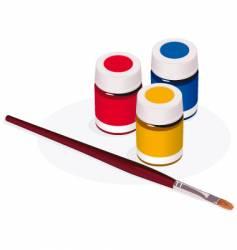 Paintbrush and paint pots vector