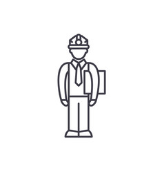 Production manager line icon concept production vector