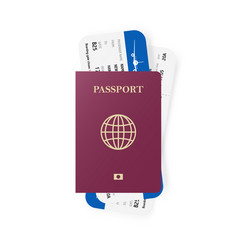 Red passport and boarding pass tickets realistic vector