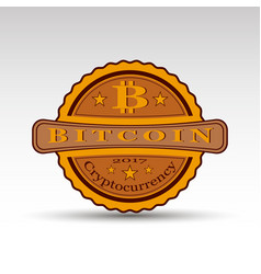 retro badge with bit coin symbol vector image