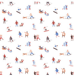 seamless pattern with men women and children vector image
