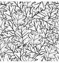Seamless pattern with oak leaves vector