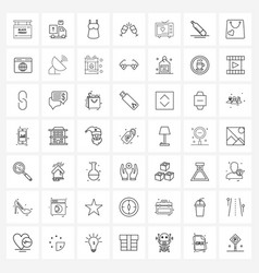 set 49 simple line icons for web and print vector image