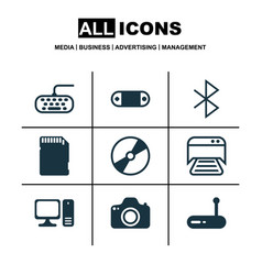 Set 9 computer hardware icons includes cd-rom vector