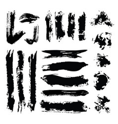set black ink grunge artistic brush vector image
