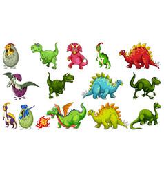 set different dinosaur cartoon character vector image