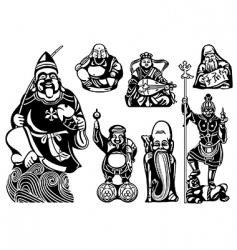 seven lucky gods vector image vector image