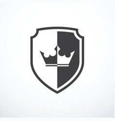 Shield with crown icon vector