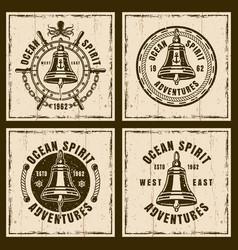 Ship bell nautical brown vintage emblems vector