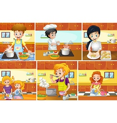 Six scenes of people cooking in kitchen vector