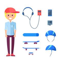skateboarder construction set vector image