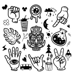 Stickers hand drawn doodle tattoo style vector