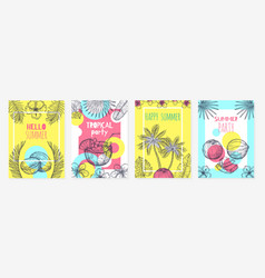 summer coconut cards sketch tropic fruits modern vector image