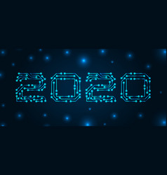 text 2020 made in circuit texture banner for vector image