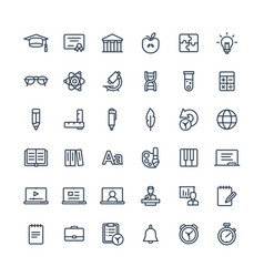 Thin line icons set with education online vector