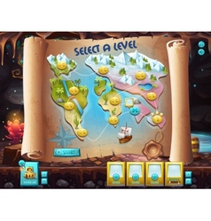 User interface select level to play treasure vector