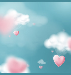 valentines day with heart balloons flying vector image