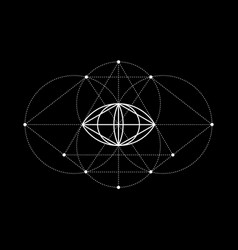Vesica piscis sacred geometry all seeing eye sign vector