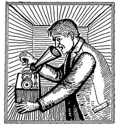 vintage engraving a man transmitting sound vector image