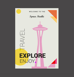 Welcome to the space needle seattle washington vector