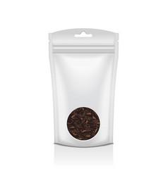 white plastic bag with round window black tea vector image