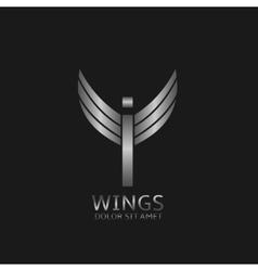 Wings I letter logo vector image