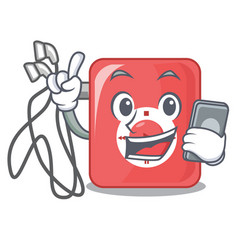 With phone mp3 player in the cartoon shape vector