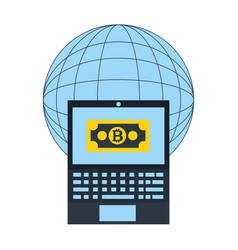 world laptop bitcoin exchange fintech vector image