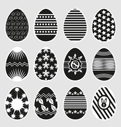 Easter eggs in black and white vector image vector image