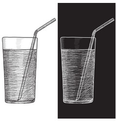 glass of water with drinking straw hand drawn vector image vector image