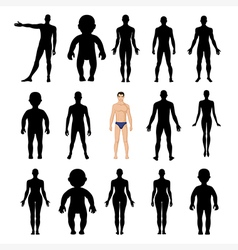 Human silhouettes template figure vector