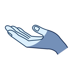 Blue color silhouette shading of opened hand of vector