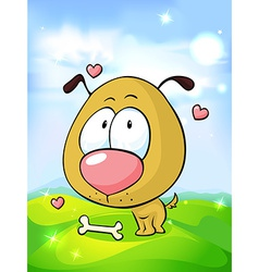 cute dog in love with bone on green grass and blue vector image vector image