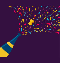 new year color champagne bottle splash card vector image