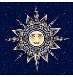 Vintage hand drawn sun eclipse vector image