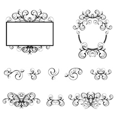 Floral Decorative Elements and Borders vector image vector image