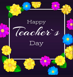 happy teacher day greeting banner for your vector image