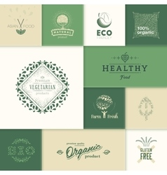 Healthy products logos vector image