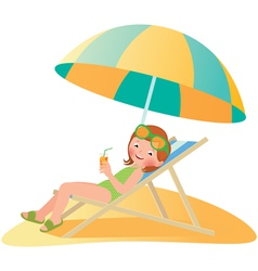 Girl on the beach in a deckchair vector image
