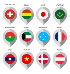 Marker from paper with flag for map - set first vector image vector image