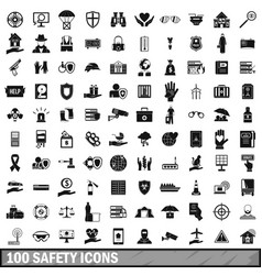 100 safety icons set simple style vector