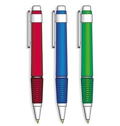a set of three pens vector image